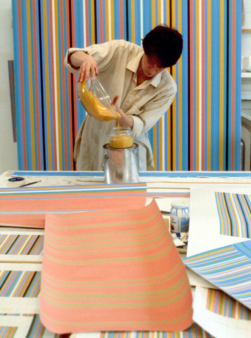 Bridget Riley in the studio
